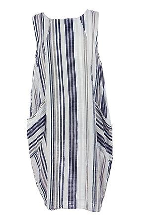92a30df068 TEXTURE Ladies Women Italian Lagenlook Sleeveless Stripe 2 Pocket  Cheesecloth Tulip Midi Dress One Size (White