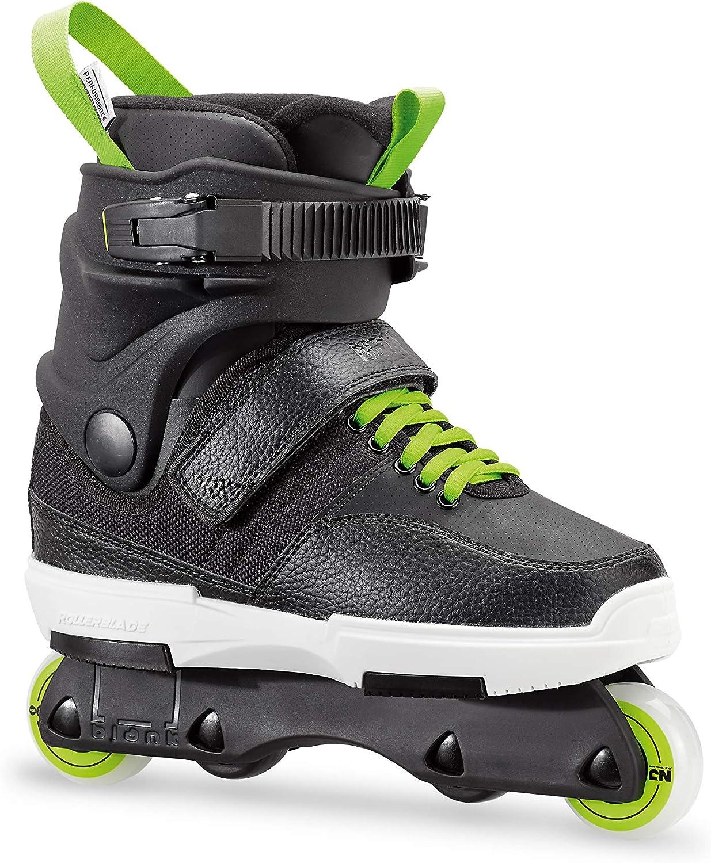 Rollerblade NJR Kid s Size Adjustable Street Inline Skate, Black and Green, High Performance Inline Skates, Youth
