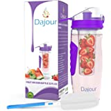 Fruit Infuser Water Bottle 32 Ounce NO BPA Sports Flavor Infusion Bottle - PLUS Recipe Ebook and Cleaning Brush INCLUDED