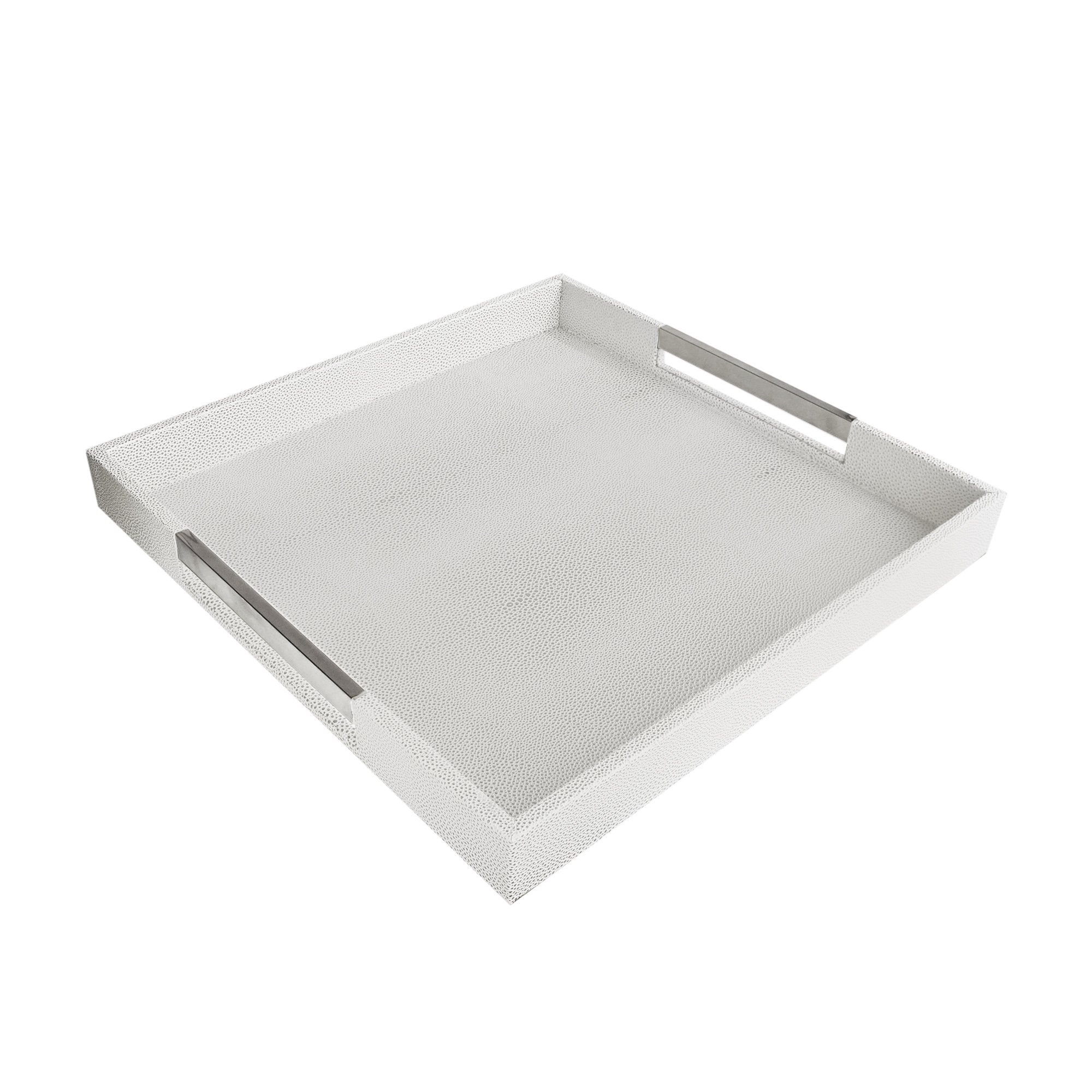 American Atelier 1630006 White & Gray Square Tray with Silver Handles