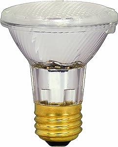Satco S2232 39 Watt (50 Watt) 530 Lumens PAR20 Halogen Narrow Flood 34 Degrees Clear Light Bulb, Dimmable