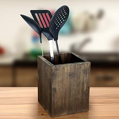 Coffee Brown Wood Kitchen Storage Utensil Crock, Countertop Cooking Tools Holder