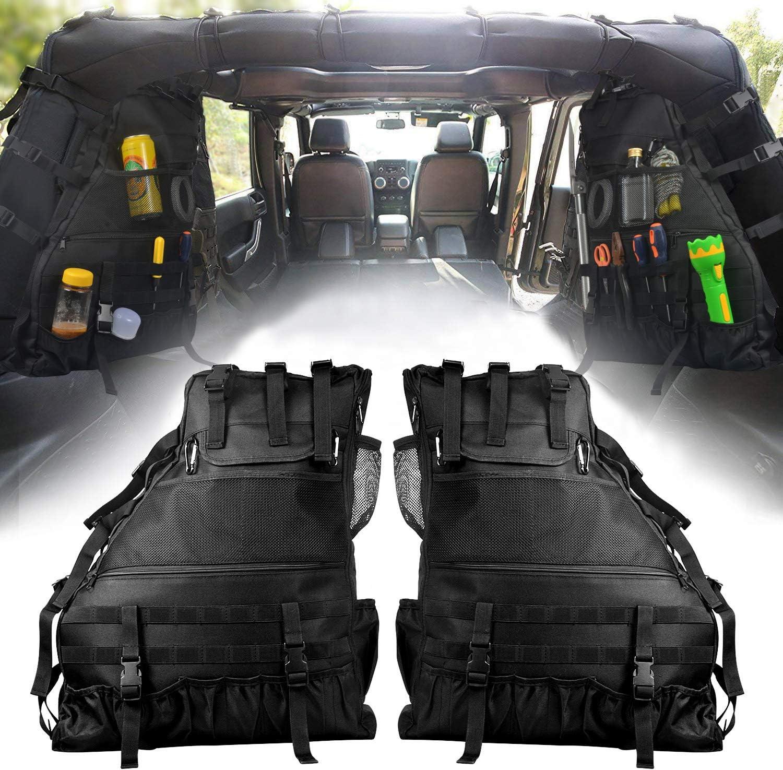 Aukmak Roll Bar Storage Bag Cage for 1997-2017 Jeep Wrangler JK TJ LJ Unlimited 4-Door with Multi-Pockets /& Organizers /& Cargo Bag Saddlebag Tool Kits Holder