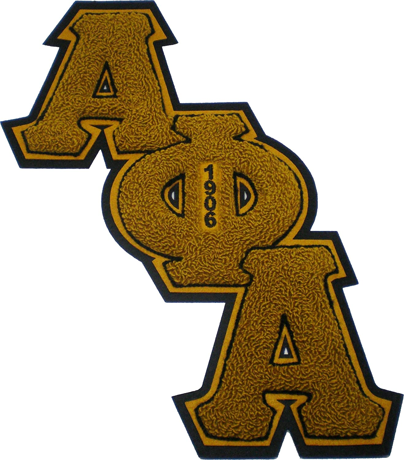 Gold - 5.75W x 5.5T Alpha Phi Alpha Letter Shield Chenille Sew-On Patch