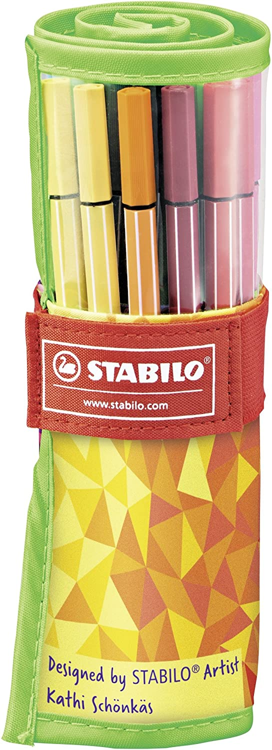 STABILO Pen 68 Premium Felt Tip Pen - Wrap of 25, Assorted Colours