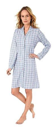 NORMANN WÄSCHEFABRIK Damen Nachthemd mit Knopfleiste, kariert - Single Jersey - zum durchknöpfen 281 213 90 152