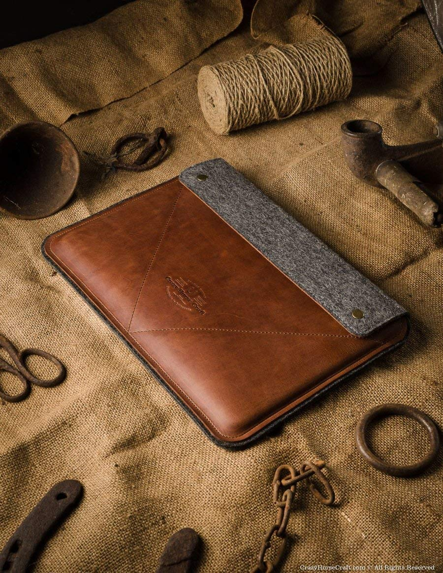 2018 MacBook Pro 13/15 inch Classic Brown case/sleeve, genuine leather 100% wool felt, handmade, unique, vintage Crazy Horse leather laptop case, new 2018 MacBook Air 13 inch case, Crazy Horse Craft