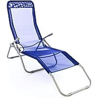Gartenliege Bäderliege 160 x 48,5 x 100 cm Textilene blau 5kg Armlehne Stahlrahmen Relaxliege klappbar Kippliege bis 100 kg belastbar wetterfest pflegeleicht Farbe wählbar grau blau schwarz