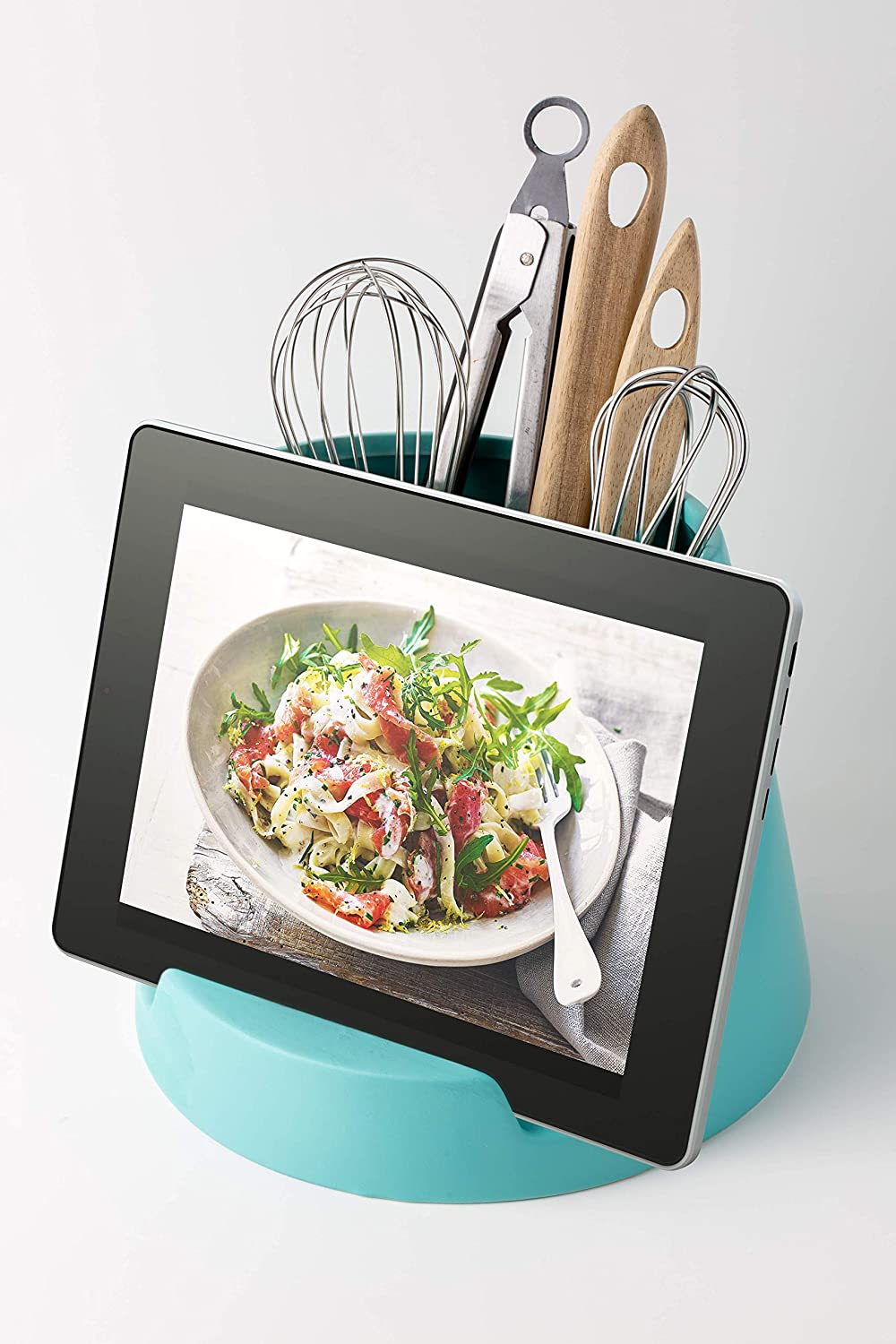 Modern White Crock w//Tablet Holder Ceramic Utensil Holder /& Tablet Stand Decorative Cookbook Stand 7.11 x 8.5 iPad or Recipe Book Holder Utensil Caddy for Contemporary Cooking Enthuziasts
