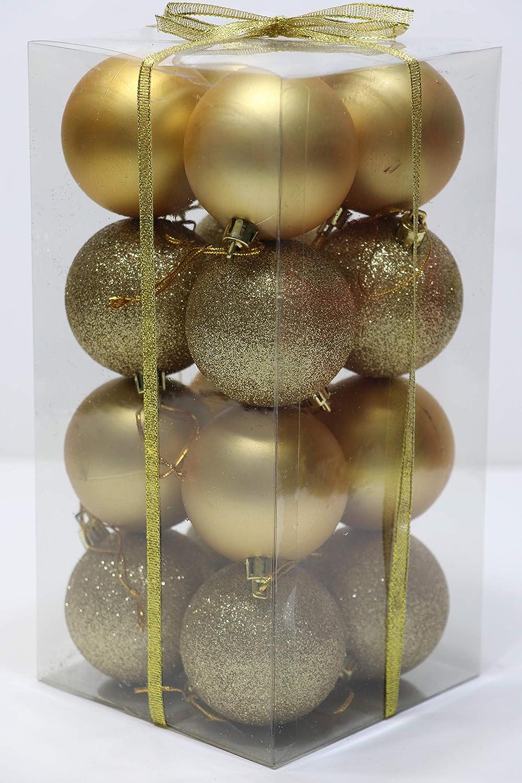 Dobar ホリデーエッセンシャルズ 飛散防止オーナメントボール - サイズ:60mm - 16/パック ゴールド  ゴールド B07K2G3GG1
