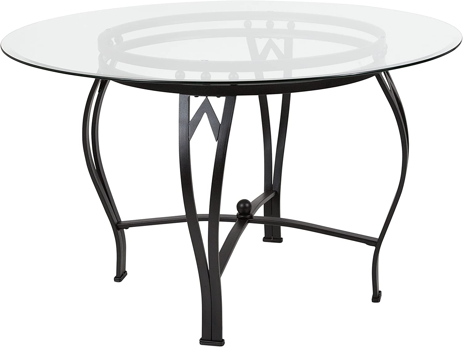 Flash Furniture Syracuse 48'' Round Glass Dining Table with Black Metal Frame