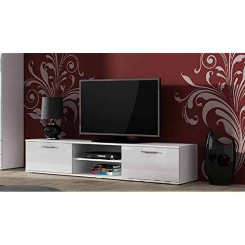 White Tv Cabinet Living Room Furniture: White TV Stand High Gloss: Amazon.co.uk
