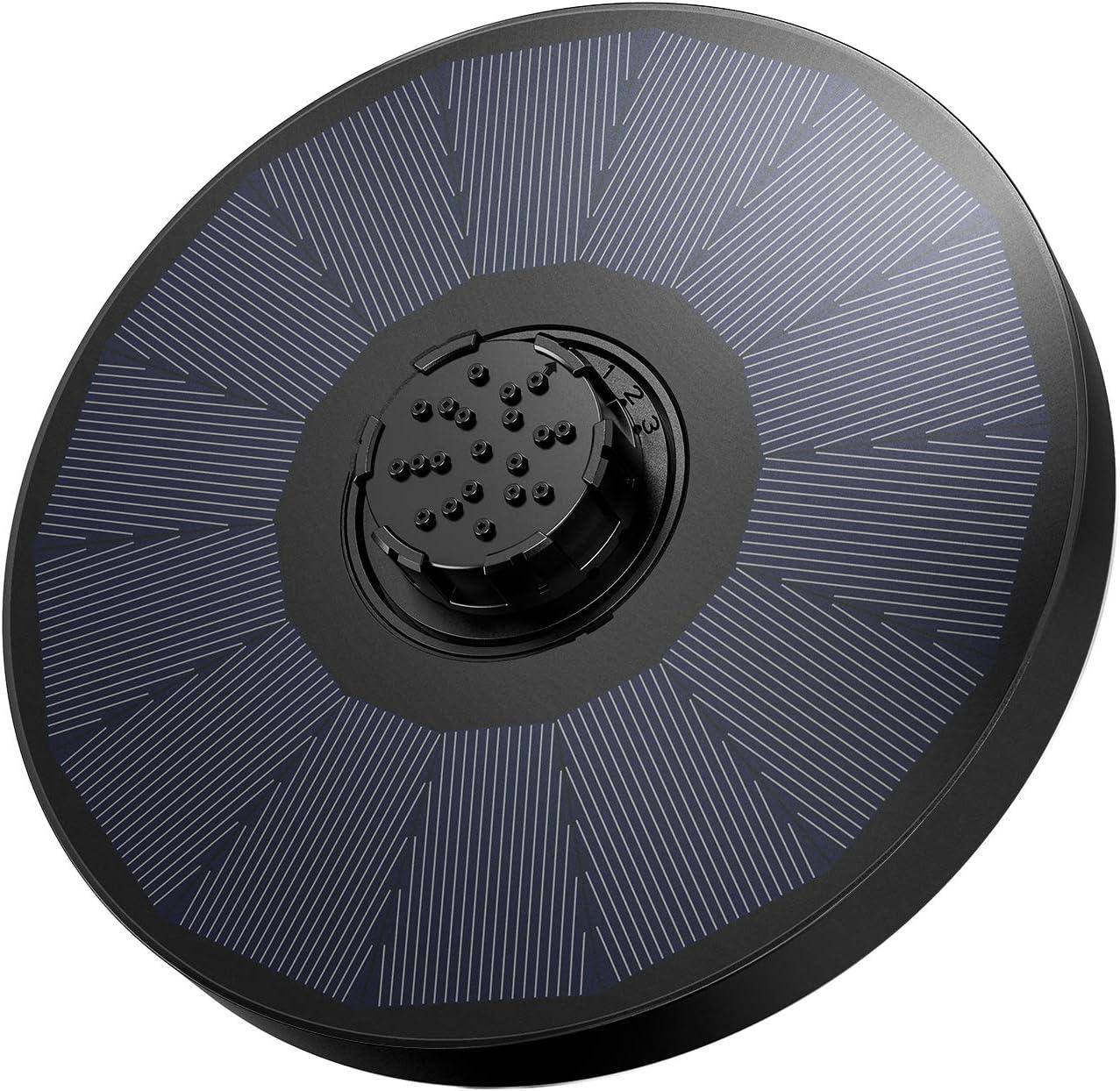 OMORC Bomba Fuente Solar, Bomba de Agua Solar, Fuente Solar Jardín Mejorada con Boquilla 4 en 1 y 2 Esponjas de Filtro, 4 Modos de Rociado de Agua para Baño de Pájaros, Acuario y Decoración de Jardín