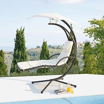 concept usine ticana fauteuil de jardin suspendu blanc avec auvent - Fauteuil Jardin Suspendu