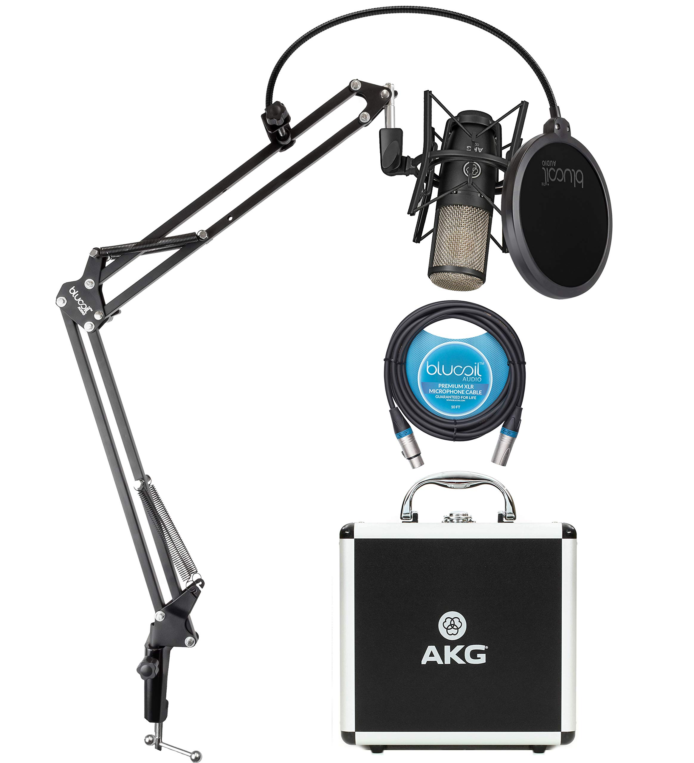 AKG P220 Cardioid Condenser Microphone for Vocals, Pianos, Horns, Woodwind and String Instruments Bundle with Blucoil 10-FT Balanced XLR Cable, and Boom Arm Plus Pop Filter