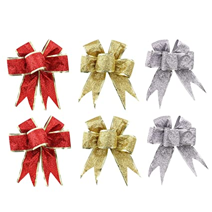dgq christmas ribbon bows 5 loops hanging ornaments for christmas tree party decorations set of 6
