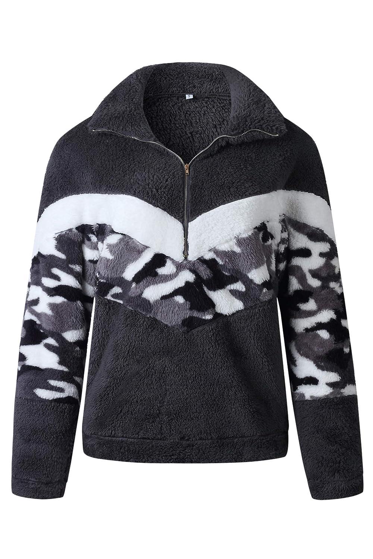 Minipeach Womens Long Sleeve Half Zipper Camo Print Patchwork Fleece Pullover Tops Fluffy Jacket with Pocket