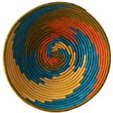African Basket Sunrise Swirl Natural Grass Fruit or Display Hand Woven Art Home Decor