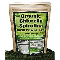 Organic Chlorella Spirulina Powder 50/50 Mix   100 Servings   Non-GMO   Vegan  ...