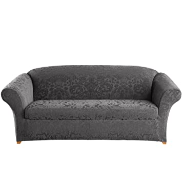 amazon com surefit stretch jacquard damask 2 piece sofa slipcover rh amazon com