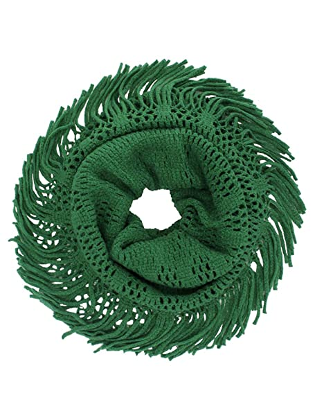 Green Open Knit Infinity Scarf With Fringe At Amazon Womens