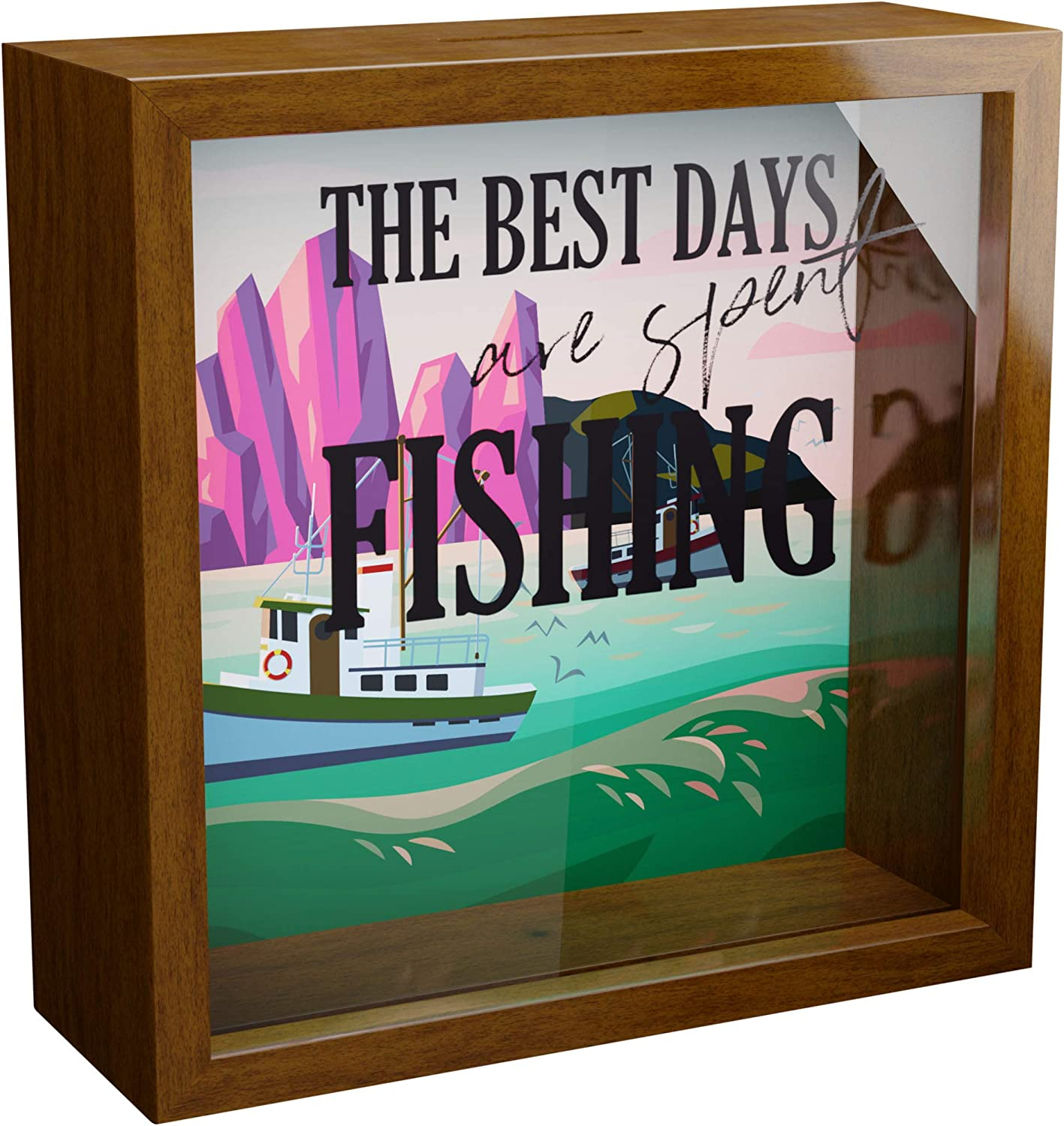 Fishing Gifts for Men | 6x6x2 Shadow Box Frame Glass Front | Ideal Gifts for Fisherman | Perfect for Fishing Wall Decor | Framed Fishing Pictures | Great Present Decor for Boys Room