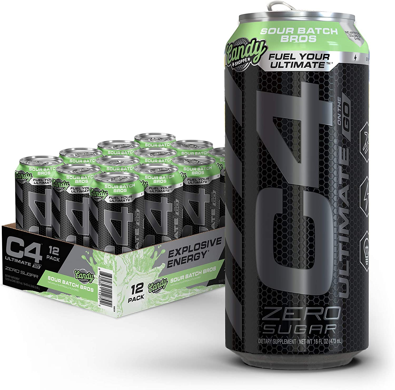 C4 Ultimate Sugar Free Energy Drink 16oz (Pack of 12) | Sour Batch Bros | Pre Workout Performance Drink with No Artificial Colors or Dyes