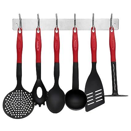 Lantelme 7124 Utensilios de Cocina y Colgador Juego cubertería 7 Piezas de Colores Rojo/Negro
