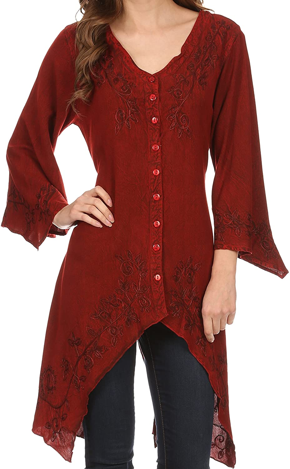 Sakkas Gella Button Down Blouse Top With Bell Sleeves And Handkerchief Sides