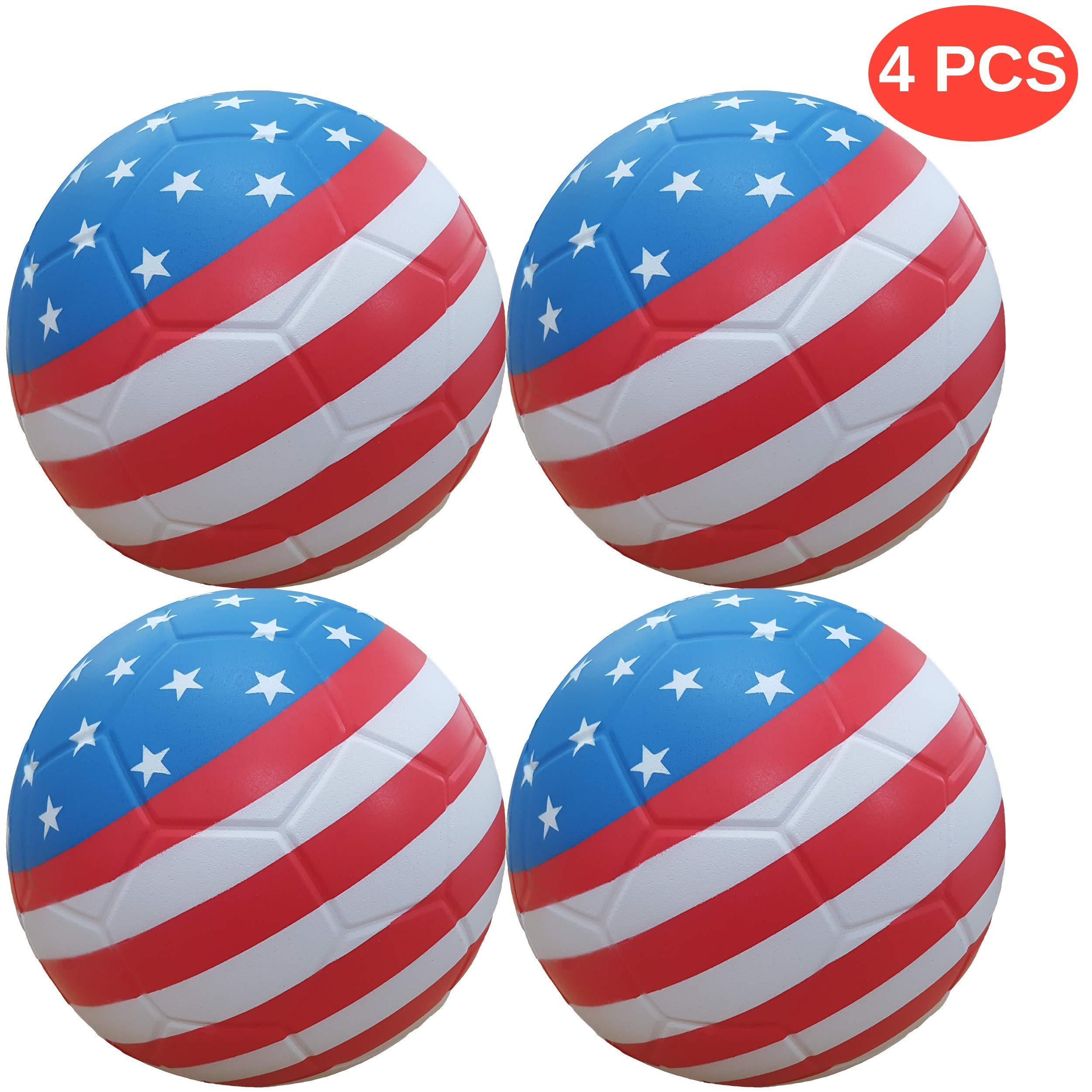 Macro Giant 6 inch (Diameter) Safe Soft Foam Flag Soccer Balls, Set of 4, USA National Flag, Beginner, Training Practice, Kickball, Kids Toys, Room Decor by MG MACRO GIANT