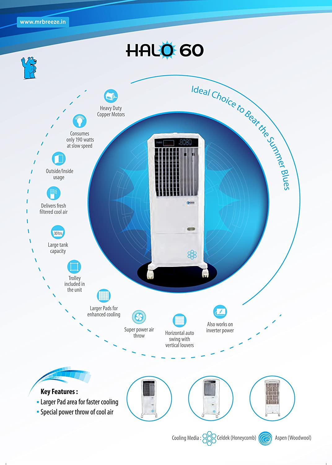 Mr. Breeze Halo60 30L Air Cooler (with Remote..