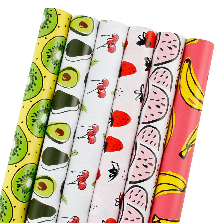 RUSPEPA Rotolo di carta da regalo- Banana/Anguria/Fragola/Ciliegia/Avocado/Kiwi Fruit Design per compleanno, vacanza, Baby Shower - 6 rotoli - 76,2 cm X 304,8 cm per rotolo
