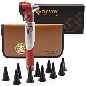 Cynamed Mini Otoscope - Portable Ear Light and Exam Kit for Home and Professional Use - 3X Magnifying Fiber Optic Scope with Spare Tips, Bulb, and Carrying Case - Pocket Diagnostic Equipment (Red)