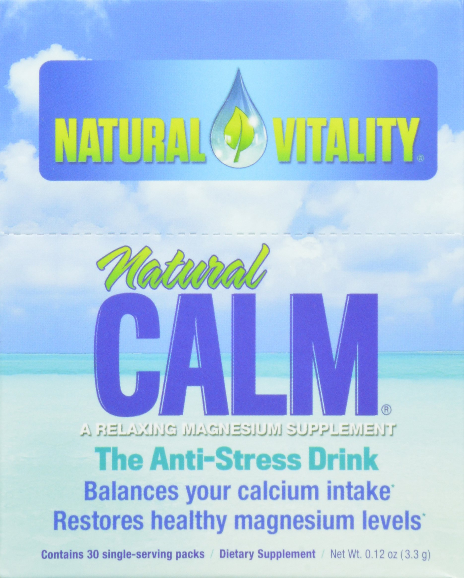 Natural Vitality, Natural Calm plus Magnesium Drink Powder, 30 count