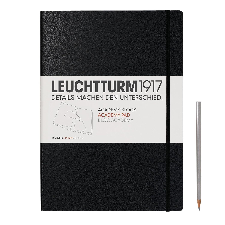 Leuchtturm1917 343490 Bloc Academy Medium 60 feuillets A5 blanc noir