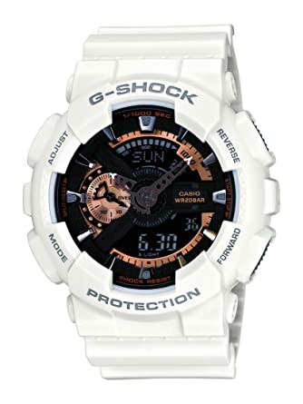 0cfafadd407 Amazon.com  Casio Men s XL Series G-Shock Quartz 200M WR Shock Resistant  Resin Color  White with Rose Gold Accents (Model GA-110RG-7ACR)  Casio   Watches