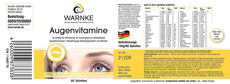 Vitaminas para ojos de Warnke, productos para la salud - multivitamínico para ojos - 90 comprimidos: Amazon.es: Salud y cuidado personal