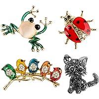 4 Broches para Ropa Mujer Clips Alfileres Pin de Cristal de Moda Animales Insectos Pájaros Rana Gato Mariquita