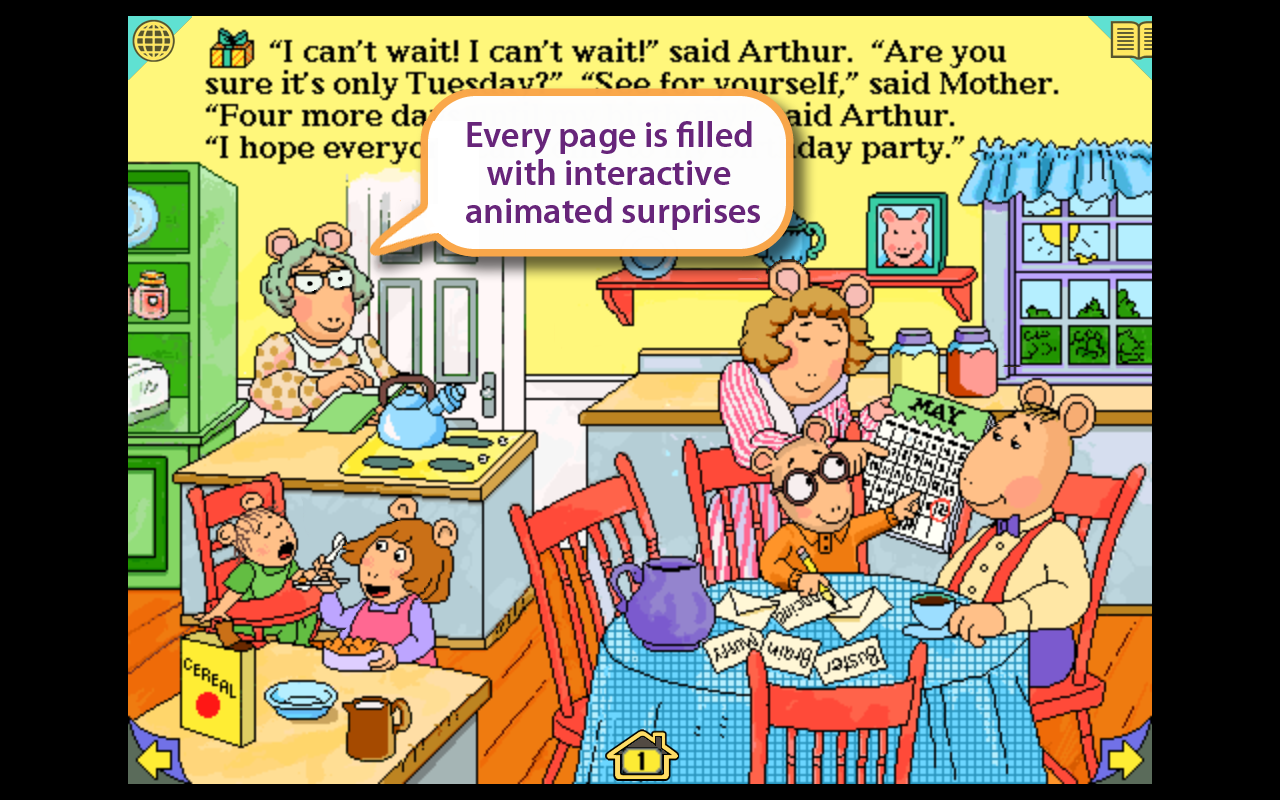arthurs birthday interactive storybook in english and