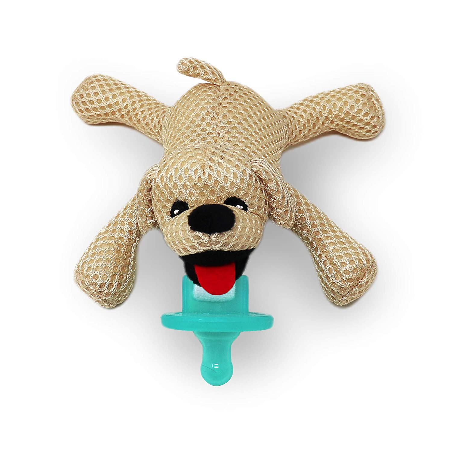 Baby Works - Pacifier Holder, Includes Removable Pacifier, Plush Toy Breathable Fabric - Bud The Puppy