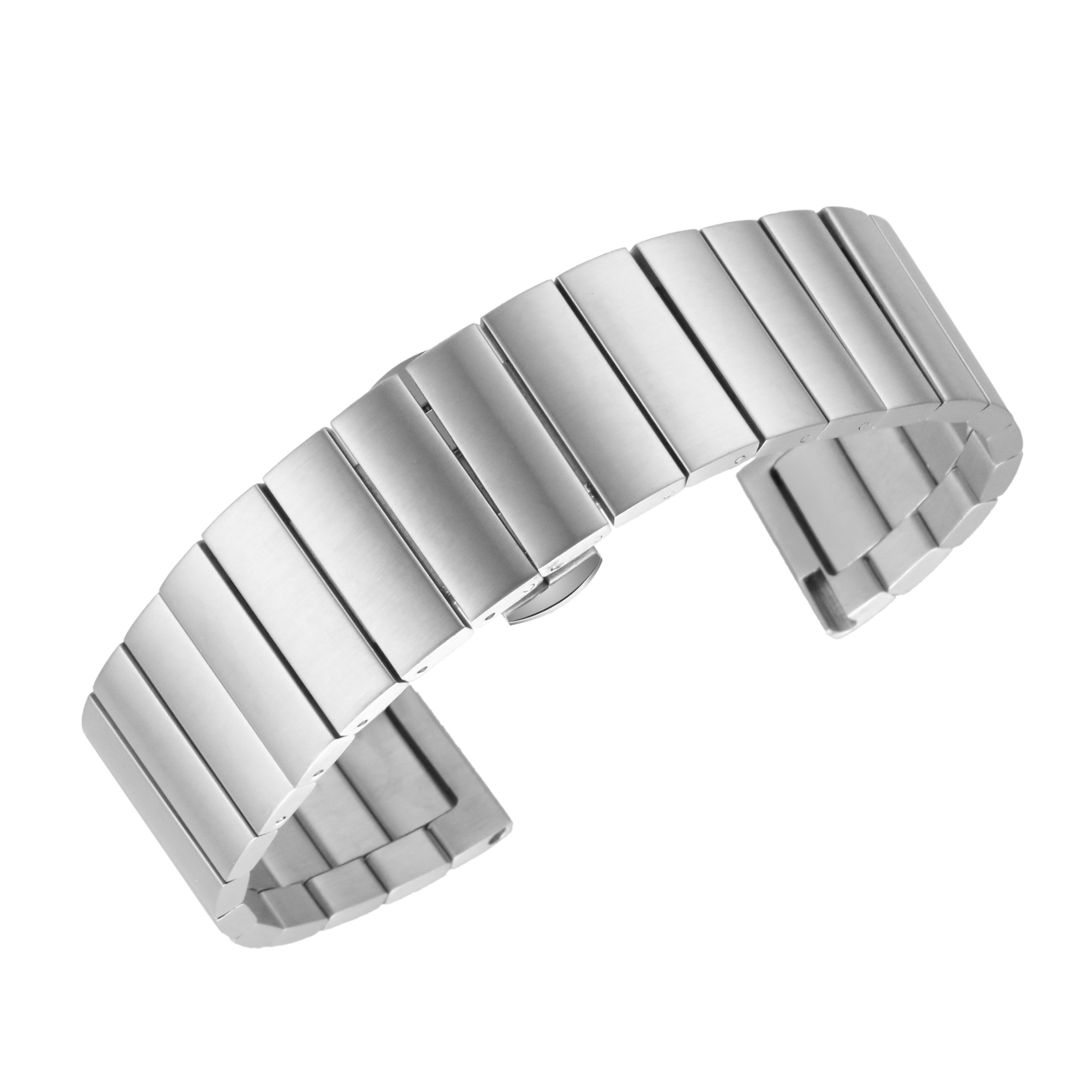 24mm Decent Steel Wristband for Men's Premium Watch Superior Watch Strap with Removable Links in Silver