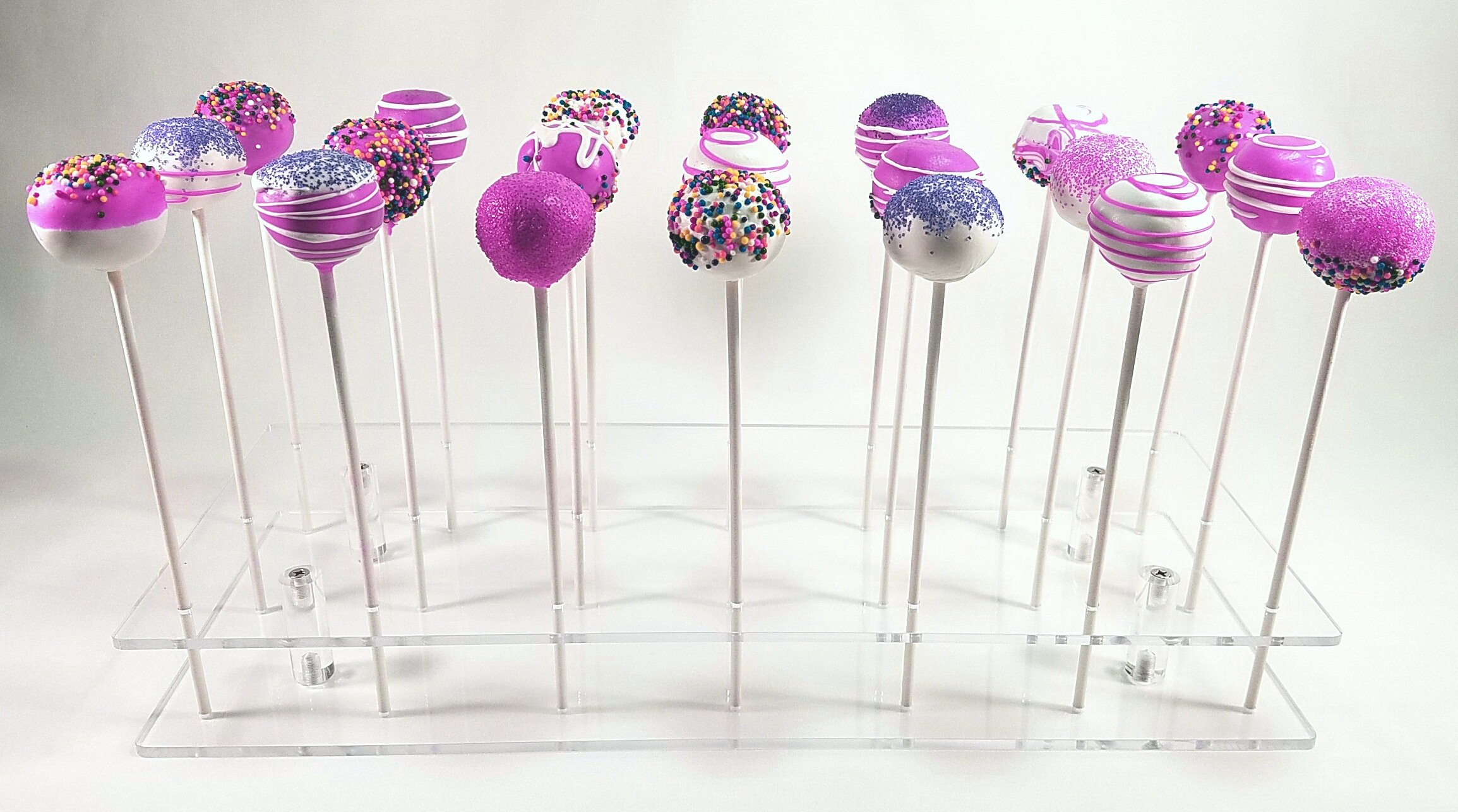 Cake Pop Holder Lollipop Display Stand - 21 Holes - Decorating - Cotton Candy - Mini Donut Cupcake - By KOVIN Acrylics