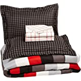 AmazonBasics 7-Piece Bed-In-A-Bag, Full/Queen,  Red Simple Stripe