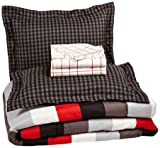 AmazonBasics 7-Piece Bed-In-A-Bag, Full/Queen,  Red