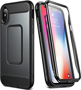 YOUMAKER Case for iPhone Xs & iPhone X, Full Body with Built-in Screen Protector Heavy Duty Protection Shockproof Slim Fit Cover for New Apple iPhone Xs & iPhone X 5.8 inch - Black