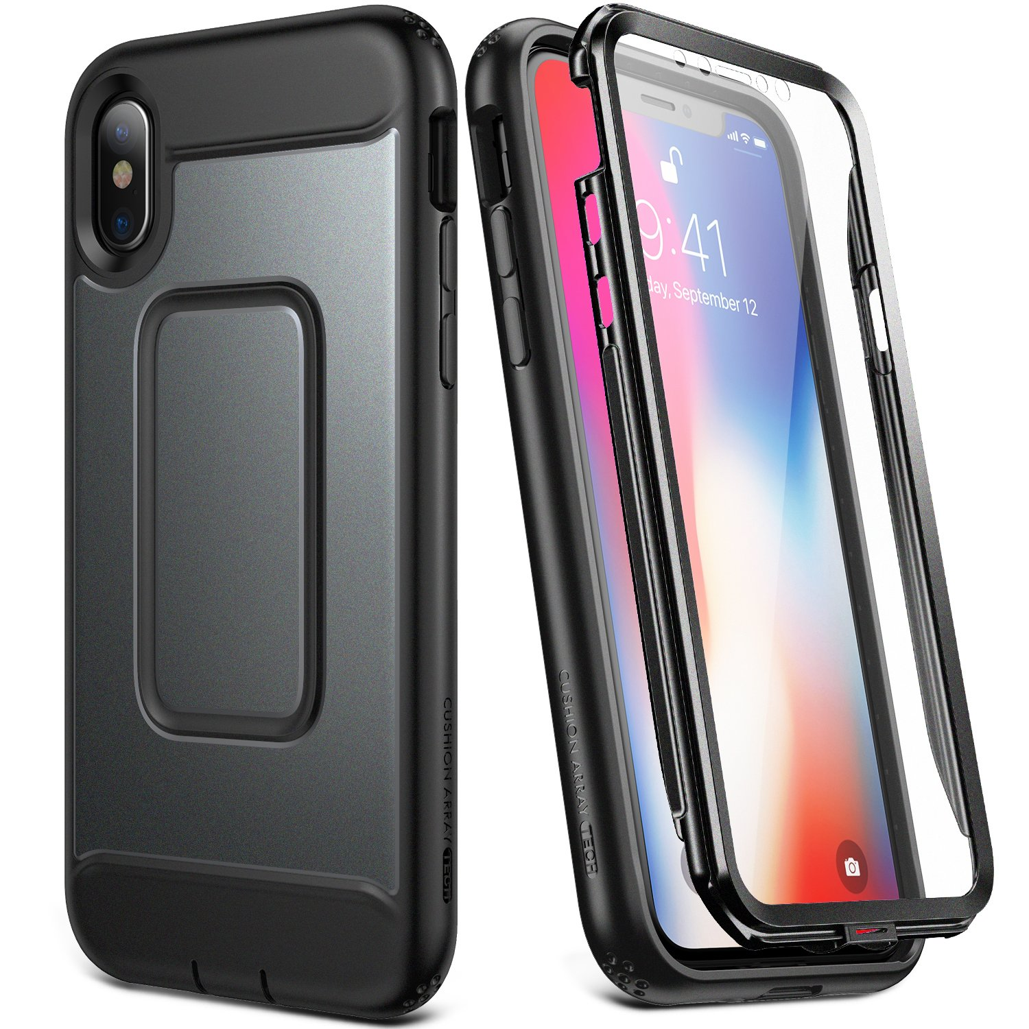 purchase cheap 690f3 41acd YOUMAKER Case for iPhone Xs & iPhone X, Full Body with Built-in Screen  Protector Heavy Duty Protection Shockproof Slim Fit Cover for New Apple  iPhone ...