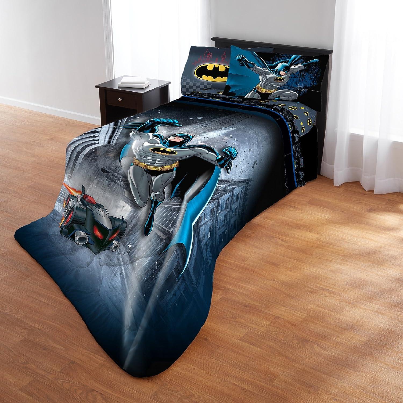 c9798c43e9e8 4 Piece Marvel Batman Guardian Speed Patterned Reversible Kids Sheet Set  Twin/Full Size, Printed Midnight Human Bat Superhero Speedy Car Bedding ...