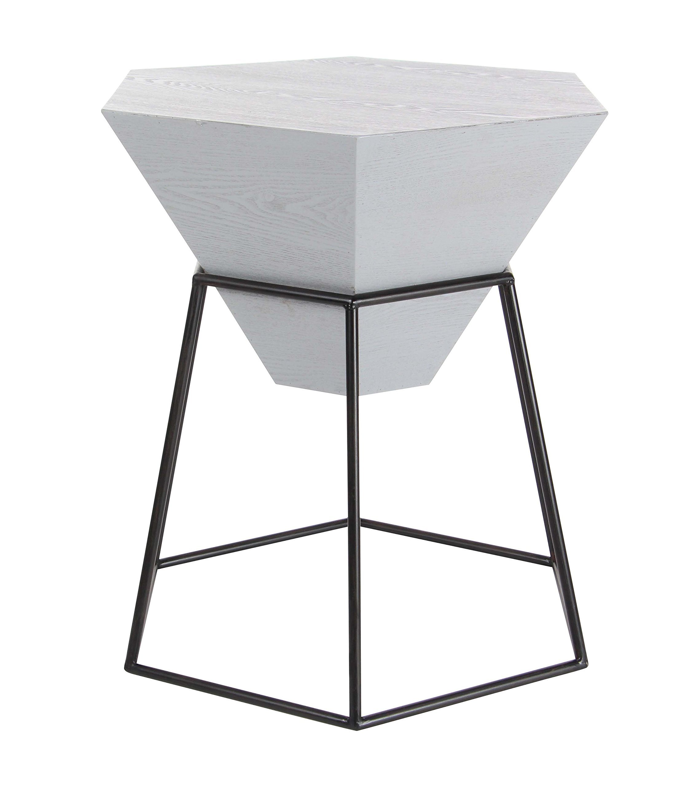"Deco 79 85233 22"" x 24"" Wood and Metal Hexagon Accent Table Gray/Black - -Dimensions: 22x22x24 -Dimensions 2: base 22x22 -Theme: Modern Reflection - living-room-furniture, living-room, console-tables - 81tGYTjaRNL -"
