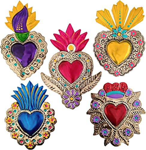 Mexican Tin Hearts 5 Pieces Art Wall Decor 6″ Milagros Mexicanos Hand Painted Colorful Metal Charms Folk Art Sacred Craft Mexico Decorations