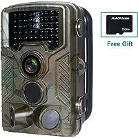 FLAGPOWER Wildkamera mit SD Karte 32GB, Wildkamera mit Bewegungsmelder 16MP 1080P Full HD Nachtsichtkamera 20m Infrarote 120°Weitwinkel IP66 Wasserdichte Überwachungskamera mit 46 IR LEDs MEHRWEG